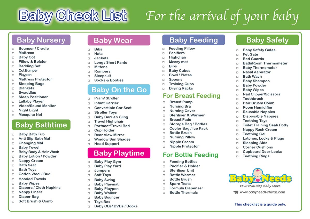 Newborn Baby Check List